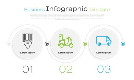 Set line Scanner scanning bar code , Scooter delivery and Delivery cargo truck vehicle . Business infographic template. Vector
