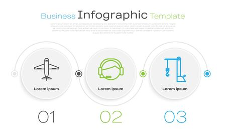 Set line Plane , Support operator in touch and Harbor port crane. Business infographic template. Vector Banque d'images - 137540596