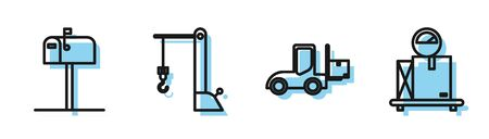 Set line Forklift truck , Open mail box , Harbor port crane and Scale with cardboard box icon. Vector Banque d'images - 137540642