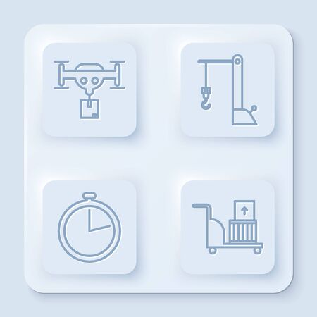 Set line Delivery drone with the package , Harbor port crane, Stopwatch and Electric hand truck and boxes . White square button. Vector Banque d'images - 137540655