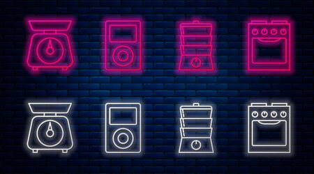 Set line Music player , Double boiler , Scales  and Oven . Glowing neon icon on brick wall. Vector Ilustração