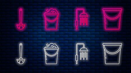 Set line Bucket with foam and bubbles , Shower head with water drops flowing , Toilet brush and Bucket . Glowing neon icon on brick wall. Vector