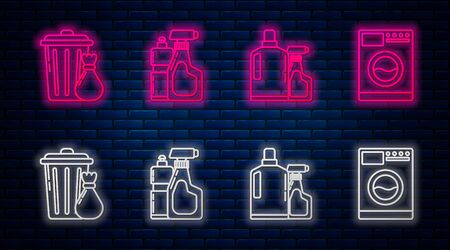 Set line Plastic bottles for liquid dishwashing liquid, Plastic bottles for liquid dishwashing liquid, Trash can and garbage bag and Washer . Glowing neon icon on brick wall. Vector