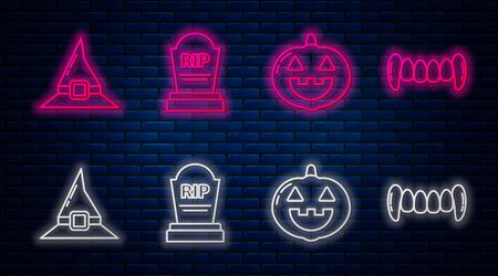 Set line Tombstone with RIP, Pumpkin , Witch hat and Vampire teeth . Glowing neon icon on brick wall. Vector
