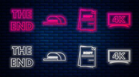 Set line Cap with inscription director , Scenario , The End handwritten inscription and Screen tv with 4k Ultra HD video technology . Glowing neon icon on brick wall. Vector