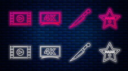 Set line Screen tv with 4k Ultra HD video technology , Knife , Play Video and Hollywood walk of fame star on celebrity boulevard . Glowing neon icon on brick wall. Vector