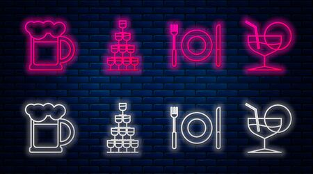 Set line Wine glasses stacked in a pyramid tower , Plate, fork and knife , Wooden beer mug and Martini glass . Glowing neon icon on brick wall. Vector