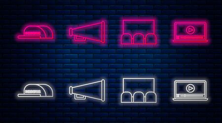 Set line Megaphone , Cinema auditorium with screen and seats , Cap with inscription director and Online play video . Glowing neon icon on brick wall. Vector Illustration