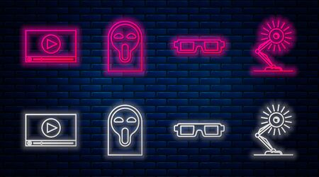 Set line Funny and scary ghost mask, 3D cinema glasses , Online play video and Table lamp . Glowing neon icon on brick wall. Vector
