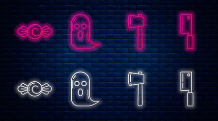 Set line Ghost , Wooden axe , Candy and Meat chopper . Glowing neon icon on brick wall. Vector