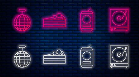 Set line Cake , Beer can , Disco ball and Vinyl player with a vinyl disk . Glowing neon icon on brick wall. Vector