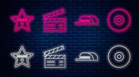 Set line Movie clapper , Cap with inscription director , Hollywood walk of fame star on celebrity boulevard and CD or DVD disk . Glowing neon icon on brick wall. Vector
