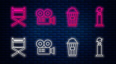 Set line Cinema camera , Popcorn in cardboard box , Director movie chair and Trophy Golden Globe . Glowing neon icon on brick wall. Vector