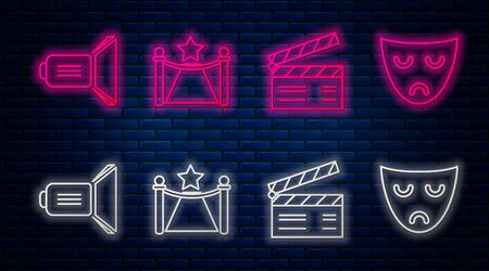 Set line Carpet with barriers and star , Movie clapper , Movie spotlight and Drama theatrical mask . Glowing neon icon on brick wall. Vector
