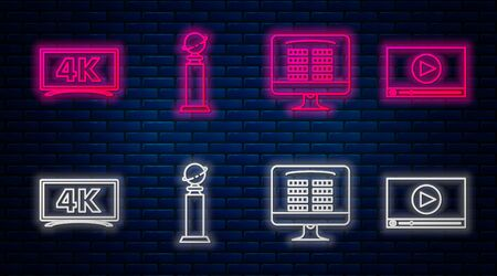 Set line Trophy Golden Globe , Buy cinema ticket online , Screen tv with 4k Ultra HD video technology and Online play video . Glowing neon icon on brick wall. Vector Standard-Bild - 137573296