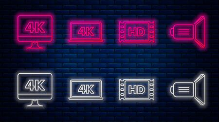 Set line Laptop screen with 4k video technology , 4k movie, tape, frame , Computer PC monitor with 4k video technology and Movie spotlight . Glowing neon icon on brick wall. Vector Illustration