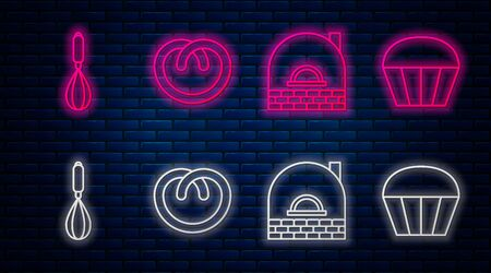 Set line Pretzel , Brick stove , Kitchen whisk and Muffin . Glowing neon icon on brick wall. Vector