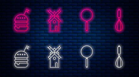 Set line Windmill , Frying pan , Burger and Kitchen whisk . Glowing neon icon on brick wall. Vector