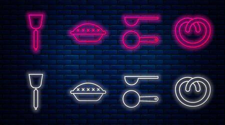 Set line Homemade pie , Measuring spoon , Spatula and Pretzel . Glowing neon icon on brick wall. Vector