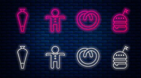 Set line Holiday gingerbread man cookie , Pretzel , Pastry bag for decorate cakes and Burger . Glowing neon icon on brick wall. Vector