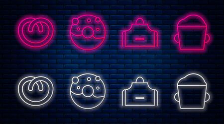 Set line Donut with sweet glaze , Kitchen apron , Pretzel and Bakery bowl dough . Glowing neon icon on brick wall. Vector Vettoriali