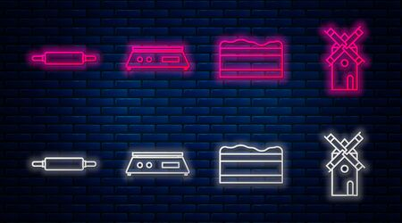 Set line Electronic scales , Brownie chocolate cake , Rolling pin and Windmill . Glowing neon icon on brick wall. Vector Illustration