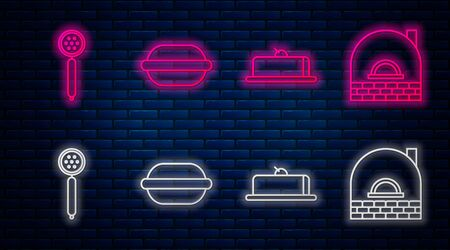 Set line Macaron cookie , Strawberry cheesecake slice, Strainer spoon and Brick stove . Glowing neon icon on brick wall. Vector Illustration