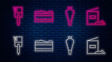 Set line Brownie chocolate cake , Pastry bag for decorate cakes, Kitchen brush and Flour pack . Glowing neon icon on brick wall. Vector Illustration