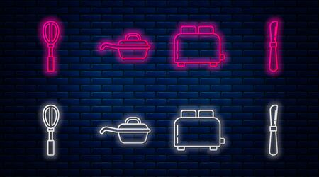 Set line Frying pan , Toaster with toasts , Kitchen whisk and Knife . Glowing neon icon on brick wall. Vector