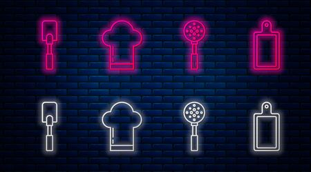 Set line Chef hat , Spatula , Spatula and Cutting board . Glowing neon icon on brick wall. Vector