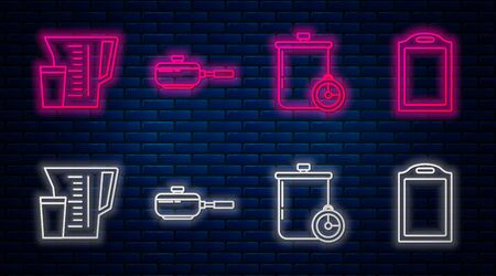 Set line Frying pan , Cooking pot and kitchen timer , Measuring cup and Cutting board . Glowing neon icon on brick wall. Vector