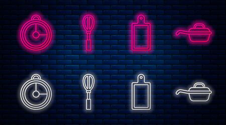 Set line Kitchen whisk , Cutting board , Kitchen timer and Frying pan . Glowing neon icon on brick wall. Vector