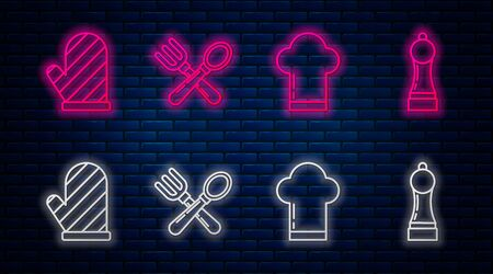 Set line Crossed fork and spoon , Chef hat , Oven glove and Pepper . Glowing neon icon on brick wall. Vector