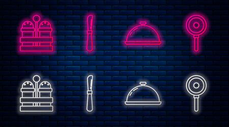 Set line Knife , Covered with a tray of food , Salt and pepper and Frying pan . Glowing neon icon on brick wall. Vector Illustration