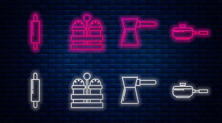 Set line Salt and pepper , Coffee turk , Rolling pin and Frying pan . Glowing neon icon on brick wall. Vector