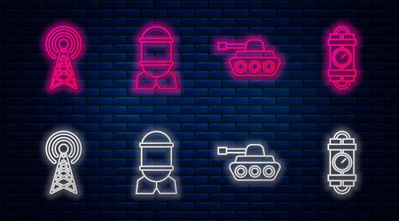 Set line Aviation bomb , Military tank , Radar and Detonate dynamite bomb stick and timer clock. Glowing neon icon on brick wall. Vector 向量圖像