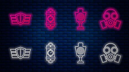 Set line Detonate dynamite bomb stick and timer clock, Human target sport for shooting , Military reward medal and Gas mask . Glowing neon icon on brick wall. Vector