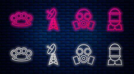 Set line Radar , Gas mask , Brass knuckles and Aviation bomb . Glowing neon icon on brick wall. Vector Ilustracje wektorowe
