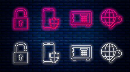 Set line Smartphone with security shield , Safe , Open padlock and Globe key . Glowing neon icon on brick wall. Vector Vektorové ilustrace