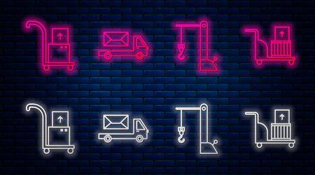 Set line Post truck , Harbor port crane, Hand truck and boxes and Electric hand truck and boxes . Glowing neon icon on brick wall. Vector Banque d'images - 137573399