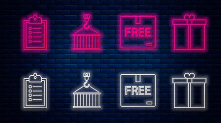 Set line Container on crane, Cardboard box with free symbol , Verification of delivery list clipboard and Gift box . Glowing neon icon on brick wall. Vector