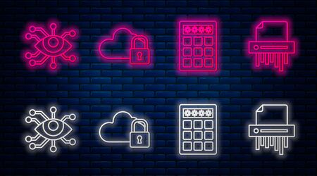 Set line Cloud computing lock , Password protection and safety access , Eye scan and Paper shredder confidential. Glowing neon icon on brick wall. Vector Stock fotó - 137573433
