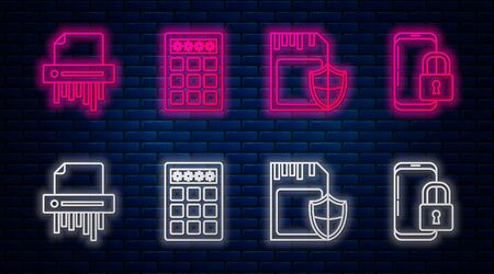 Set line Password protection and safety access , SD card and shield , Paper shredder confidential and Smartphone with closed padlock . Glowing neon icon on brick wall. Vector