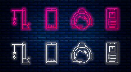 Set line Mobile phone with app delivery tracking, Support operator in touch, Harbor port crane and Mobile phone with app delivery tracking . Glowing neon icon on brick wall. Vector Banque d'images - 137580355