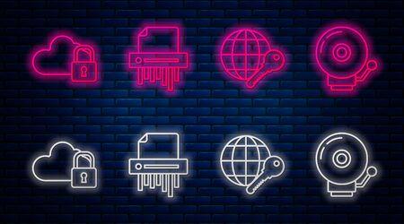 Set line Paper shredder confidential, Globe key , Cloud computing lock and Ringing alarm bell . Glowing neon icon on brick wall. Vector Illusztráció