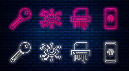 Set line Eye scan , Paper shredder confidential, Key and Smartphone with fingerprint scanner . Glowing neon icon on brick wall. Vector