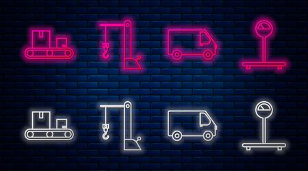Set line Harbor port crane, Delivery cargo truck vehicle , Conveyor belt with cardboard box and Scale . Glowing neon icon on brick wall. Vector Banque d'images - 137597008