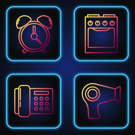 Set line Hair dryer , Telephone , Alarm clock  and Oven . Gradient color icons. Vector Çizim