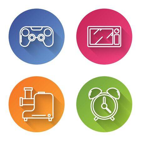 Set line Gamepad , Microwave oven , Kitchen meat grinder  and Alarm clock . Color circle button. Vector