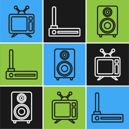 Set line Television, Stereo speaker and Router and wifi signal icon. Vector